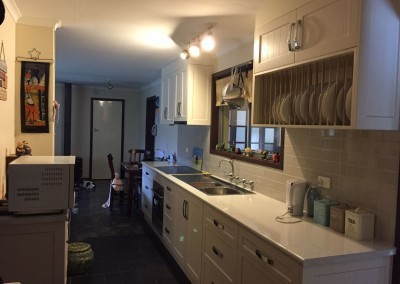 Kitchen with be-spoke dish washing rack Adelaide hills